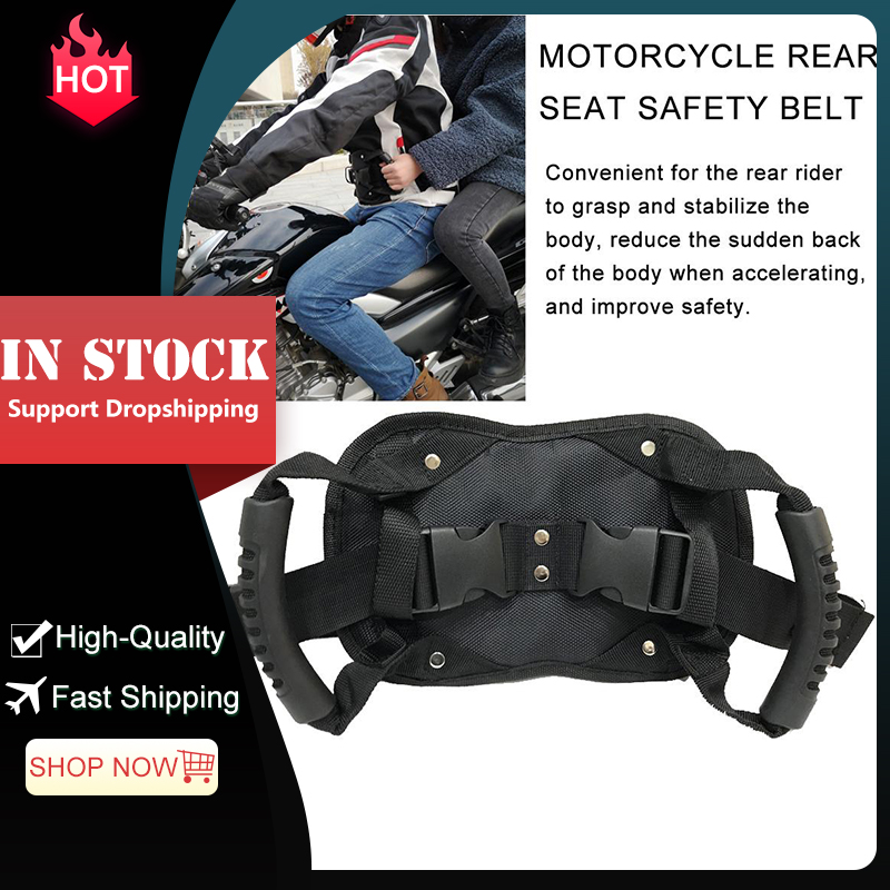 sazoley Safety Handle On The Back of Motorcycle Safety Handle On The Back of Motorcycle Safety Belt Straps Grab Rope for ATV Snowmobile Yacht Rear-seat Passenger Straps with Handle Safety Belt Gri