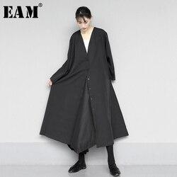 Женское платье-рубашка с пуговицами [EAM], черное свободное платье большого размера с v-образным вырезом и длинным рукавом, весна-осень 2020 1N577