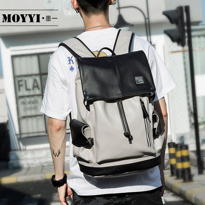 MOYYI Brand Waterproof 14 Inch Laptop Backpack Men Leather Backpacks For Teenager Men Casual Daypacks Mochila Male