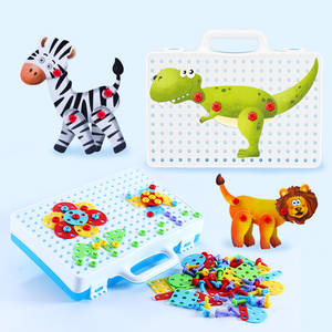 New Style 2D Screw Puzzle 3D Animals Puzzle Set Assembly Building Blocks Preschooler Educational Toys Disassembly Learn Toolbox