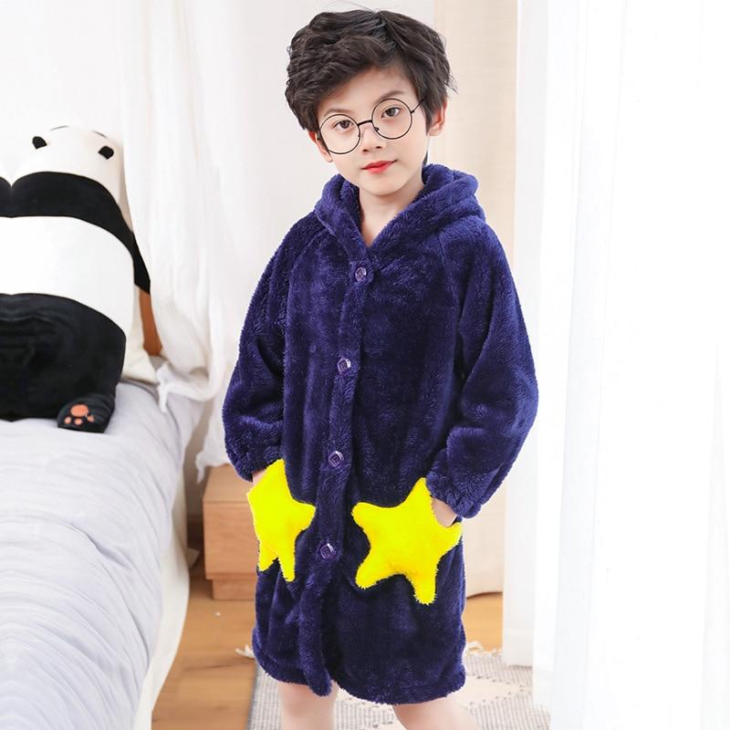 Albornoz de baño para niños, albornoz de franela de invierno, pijamas para niños, ropa de dormir con capucha con estampado de estrellas, albornoces largos suaves para niños Mallas de bebé MILANCEL a rayas para bebés y niños leggings ajustados leggings coreanos para niñas