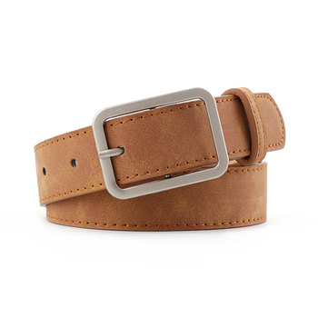 High quality Leather Waist Strap Belt Black Brown Women Square Metal Buckle belts Ladies Female Belts for Jeans 105cm