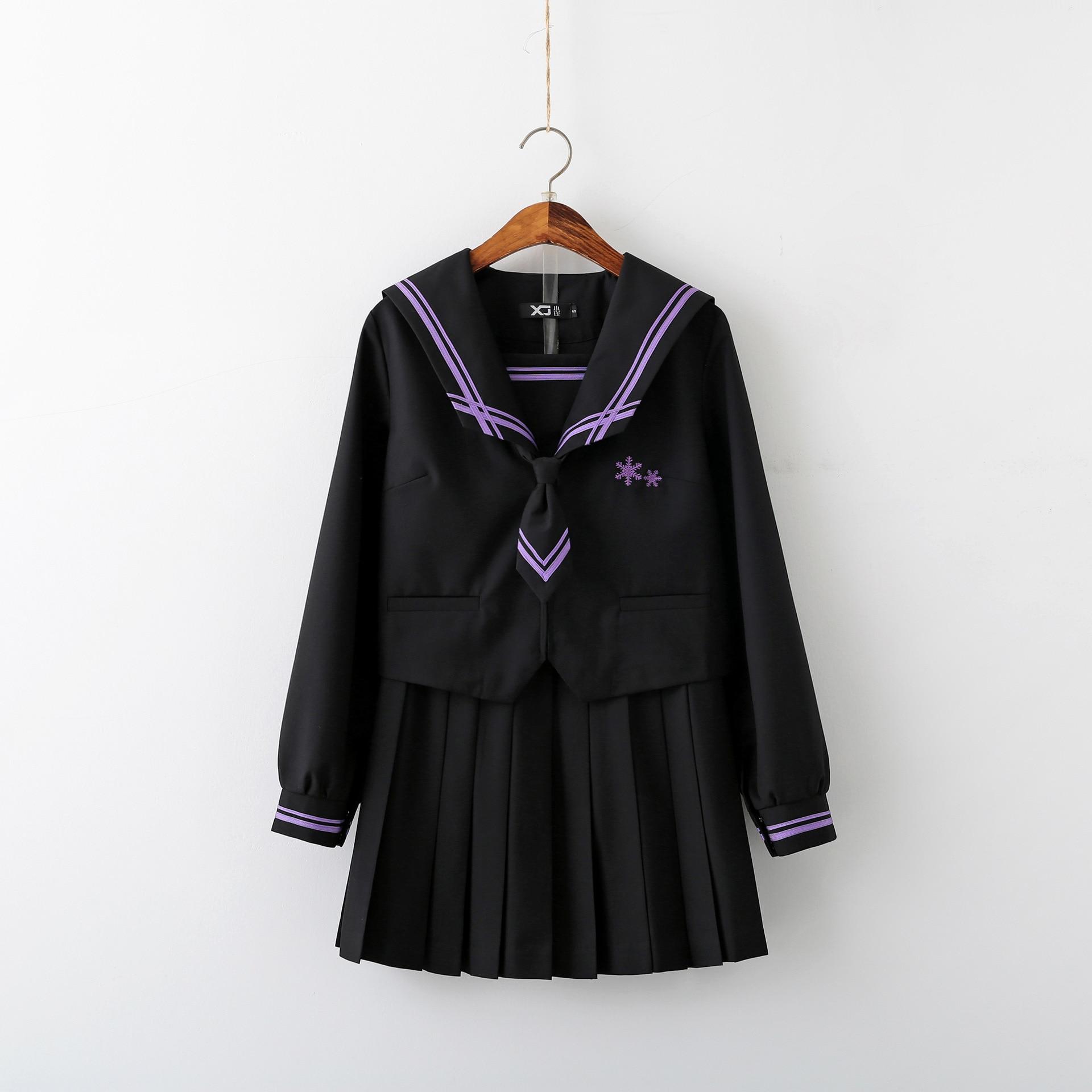 Japanese Fashion School JK Uniform Japones Sailor Fuku Uniforme Japonais School Girl Students Costume Tops Pleated Skirt