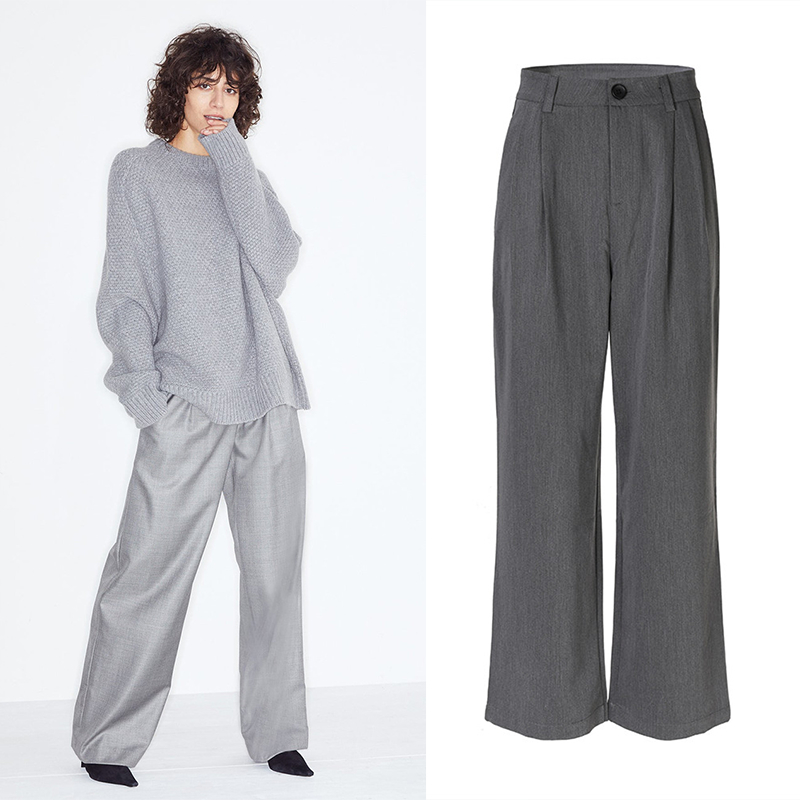 Loose Suit Pants Long Trousers Women Cotton Solid Wide Leg 2020 New Summer Comfort High Waist Flare Pants Streetwear OL Clothing