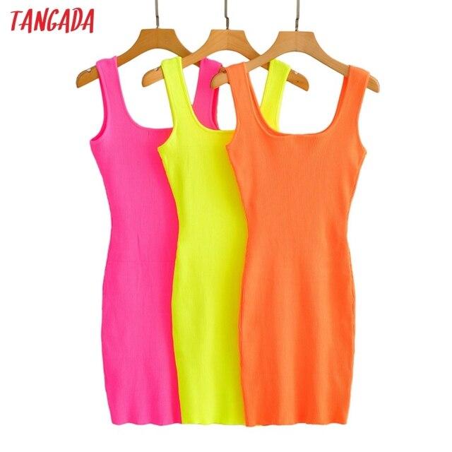 Tangada 2021 Women Candy Color Knit Party Dress Strap Sleeveless Ladies Sexy Short Dress Vestidos LK15 1