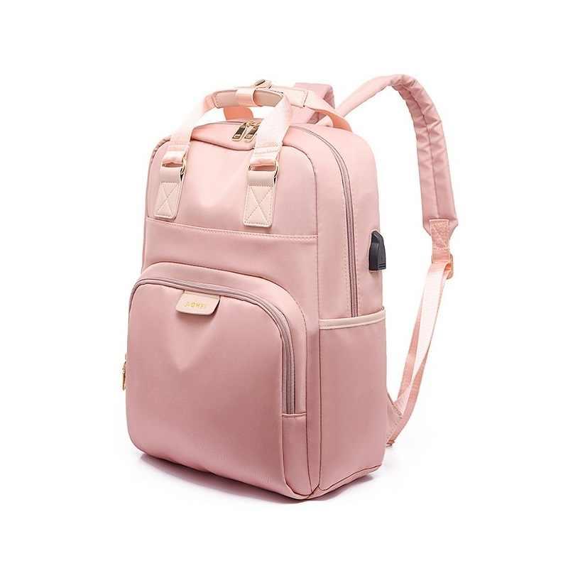 MoneRffi su geçirmez Laptop sırt çantası kadın moda kız sırt çantası 13 14 15.6 inç sırt çantası kadın erkek Oxford kumaş siyah pembe