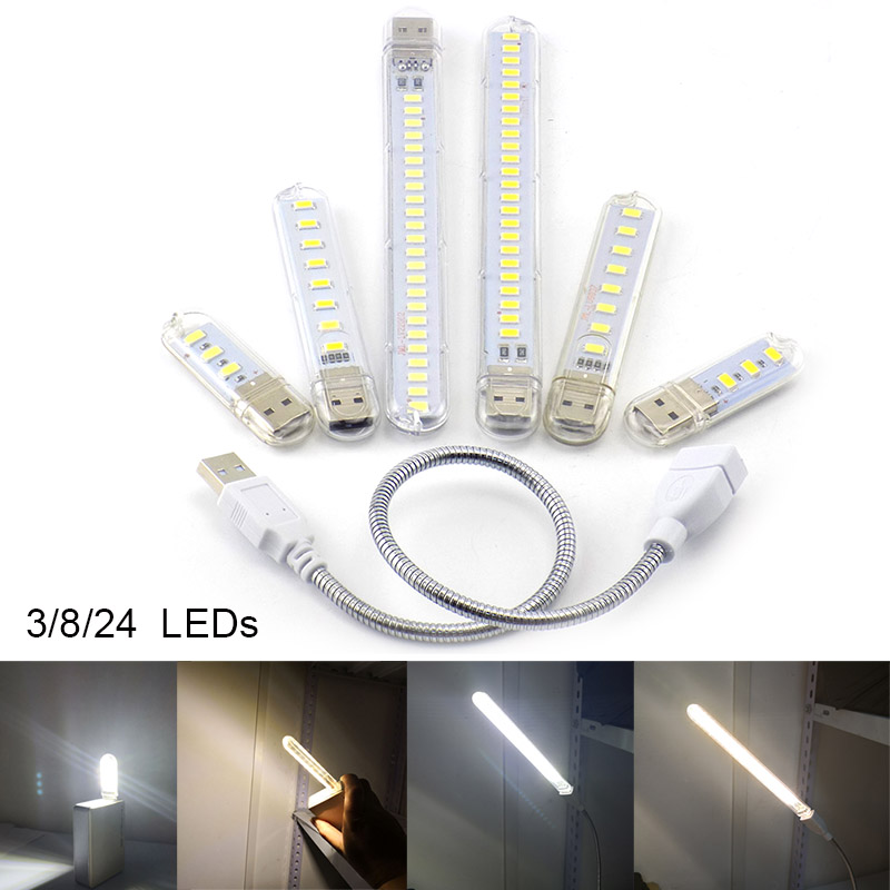 3 8 24 LED DC 5V USB Flashlight Night Light Warm White Lamp Book Reading For Note PowerBank Lighting PC Computer Indoor Room