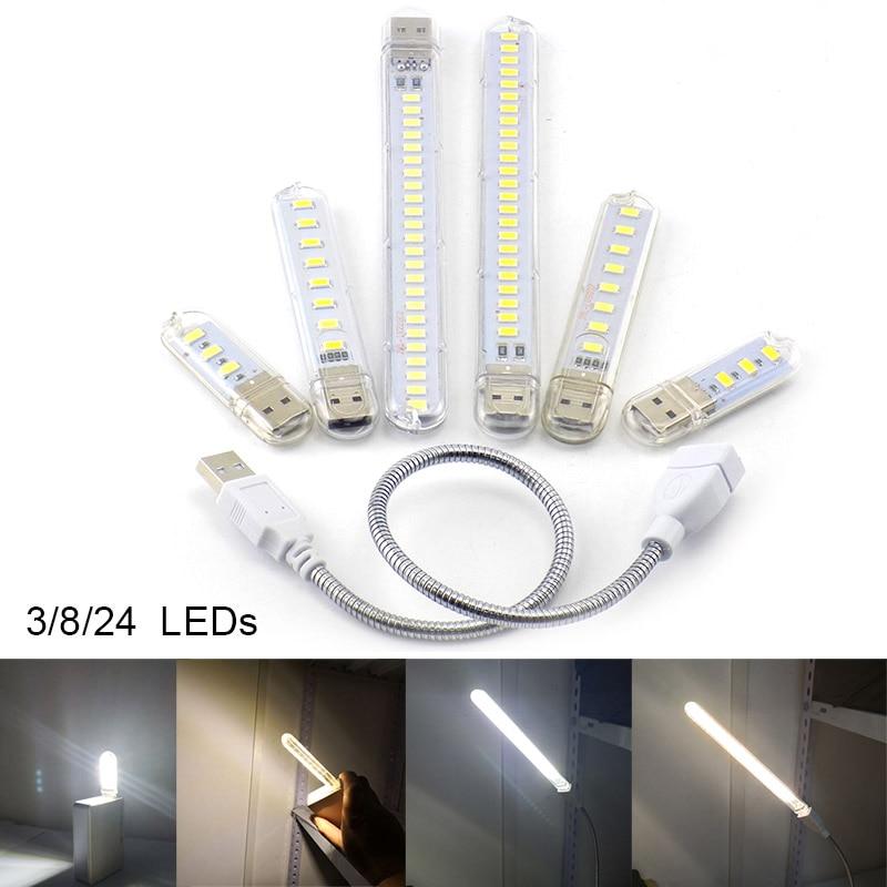 3 8 24 LED DC 5V USB Flashlight Night Light Warm White Lamp Book Reading For Note PowerBank Lighting PC Computer Indoor Room