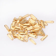 ASON100pcs/lot Stainless Steel Charm Gold/Silver Color Steel Extend Connector with2 Holes Chain Tags for Jewelry Making Supplies