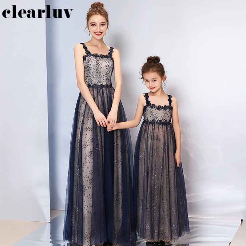 Shiny Evening Dress DB153 For Mother And Daughter Sequin A-Line Robe De Soiree Boat Neck Sleeveless Parent Child Party Dresses