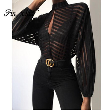 Spring Autumn Sexy See-Through Tops for Women Hollow Out Stand Neck Long Sleeve T-shirts Striped Plus Size Transparent Top Black