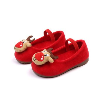 2018 Winter Children princess shoes Christmas elk velvet bean shoes antiskid kids Girl single shoes For 1-6Y toddlers girls New