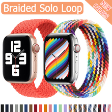 Braided Solo Loop Fabric Nylon Strap For Apple Watch band 44mm 40mm 38mm 42mm Elastic belt Bracelet iWatch Series 6 SE 5 4 3 cheap CN(Origin) Other Watchbands Silicone New with tags for Apple Wath