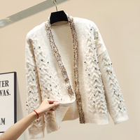 Handmade pearls beading cardigan women knitted loose lazy sweater elegant v neck thick sweaters 2019 autumn and winter new
