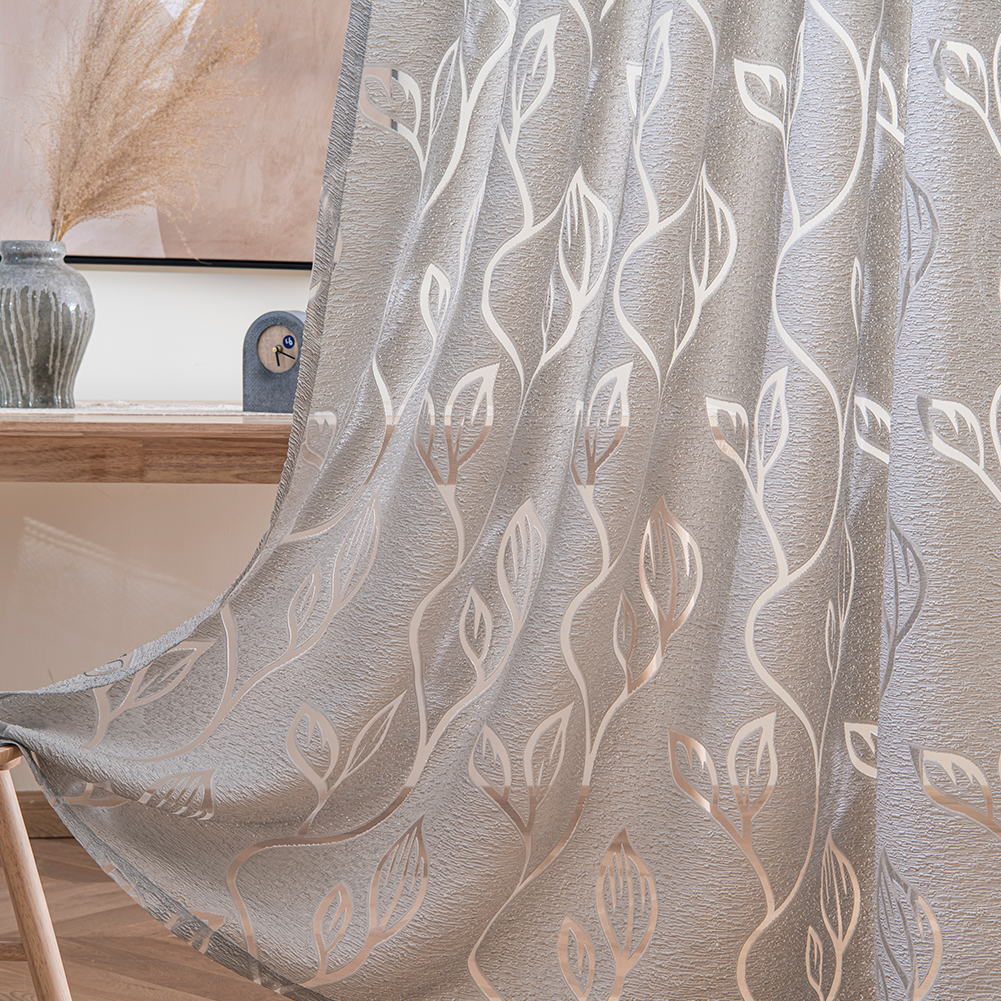 Rideau gris, court ou long, à motif jacquard
