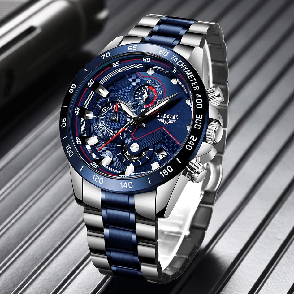 Relogio Masculino LIGE Hot Fashion Mens Watches Top Brand Luxury Wrist Watch Quartz Clock Blue Watch Men Waterproof Chronograph 2