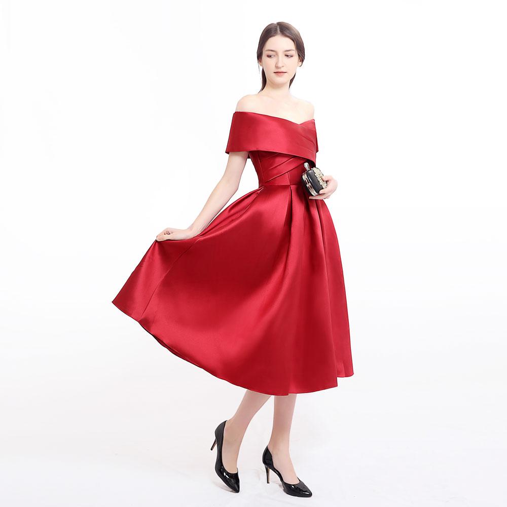 Plus size prom party evening dresses vestido de noiva sereia gown boat neck robe de soiree prom party satin pleat dress soirée