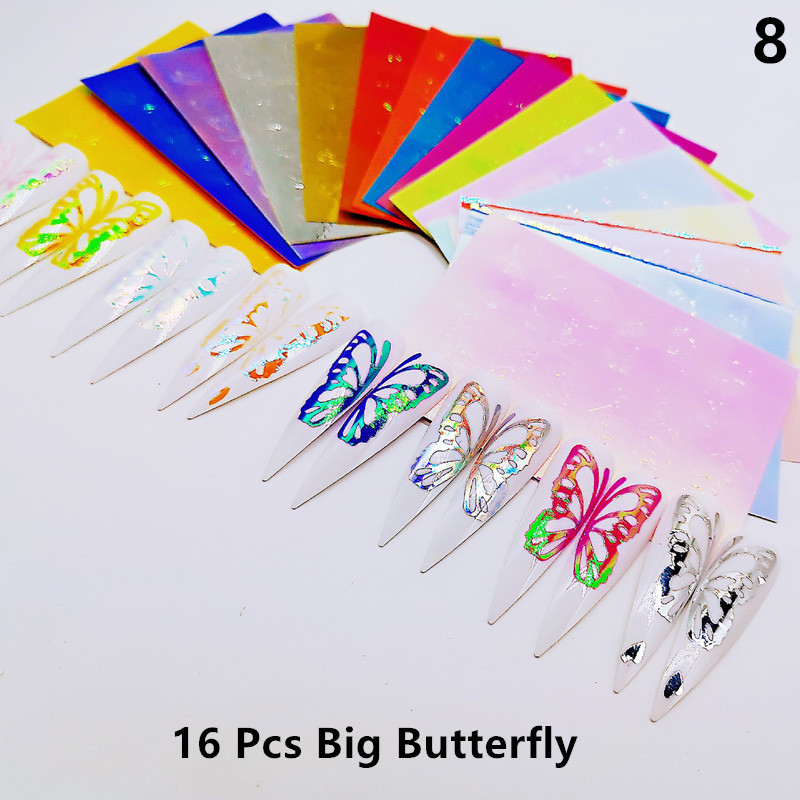 Foil Transfer Stickers Nail-Art Glitter Holographic Decal-Decorations-Set Flames 3D 16pcs