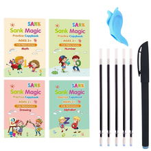 4 Pcs English Practice Copybook Magic Calligraphy Copybooks That Can Be Reused Handwriting Copybook for Kids Ages 2-8 Year Toys