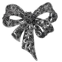 Broches de lazo de diamantes de imitación de Color negro joyería de moda clásica creativa broche antiguo alfileres para mujer joyería de la novia de la boda