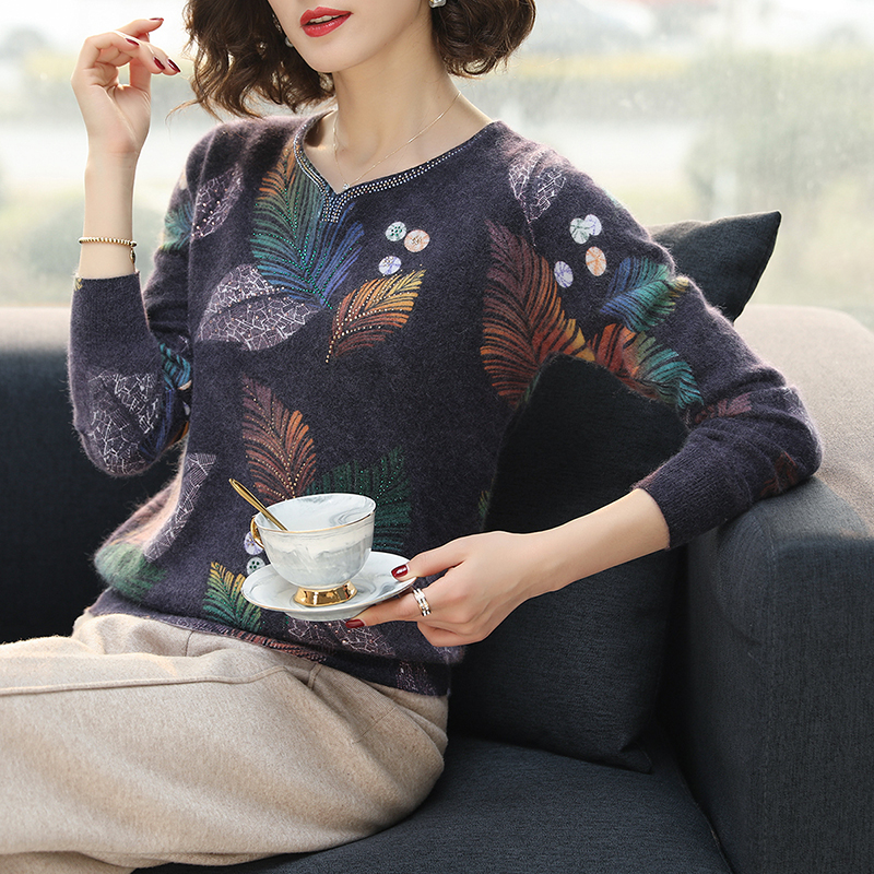 Image 2 - YISU Sweater Women 2019 Autumn Winter Fashion New Leaf Printed  sweater Long Sleeve Loose pullover Knitted sweaters WomenPullovers   -