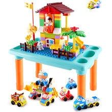 Juguetes de bloques de construcción para niños con mesa multifuncional para bloquear o estudiar, Compatible con bloques de duplo, juguetes de placa base