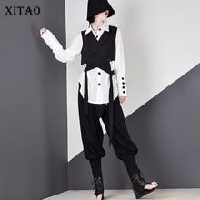 بلوزة نسائي XITAO بطيات موضة كورية جديدة واحدة الصدر 2019 قميص خريفي بدوره إلى أسفل آلهة أنيقة جديدة WQR1587