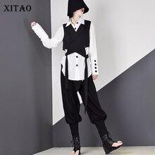 Женская плиссированная блузка XITAO, Новая корейская модная однобортная рубашка с отложным воротником, элегантная свежая рубашка в стиле богини, осень 2019, WQR1587