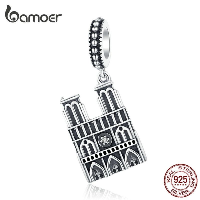 Bamoer Travel Landmark Of France Pendant Charm Silver 925 Original Notre Dame De Paris Vintage Charm Souvenirs Gifts SCC1328