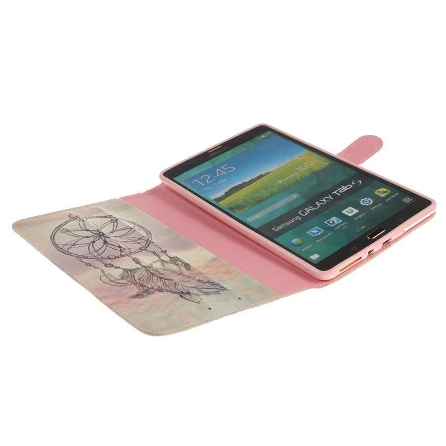 Fashion Lion Tiger Gadis Dicat PU Kulit Kasus untuk Samsung Galaxy Tab S 8.4 T700 T705 8.4 Inch Pelindung Tablet case + Pena