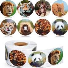 500 pces/rolo animais do zoológico dos desenhos animados adesivos para crianças brinquedos clássicos adesivo escolar professor recompensa etiqueta 8 projetos padrão leão