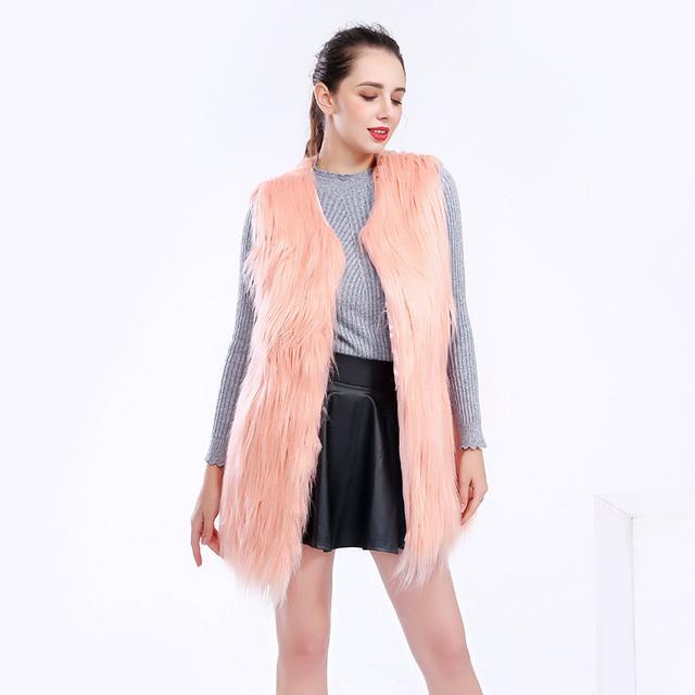 Focal20 Elegant Solid Color Women Faux Fur Vest Sleeveless Crew Neck Lady Faux-fur Coat Casual Winter Women Coat Long Vest