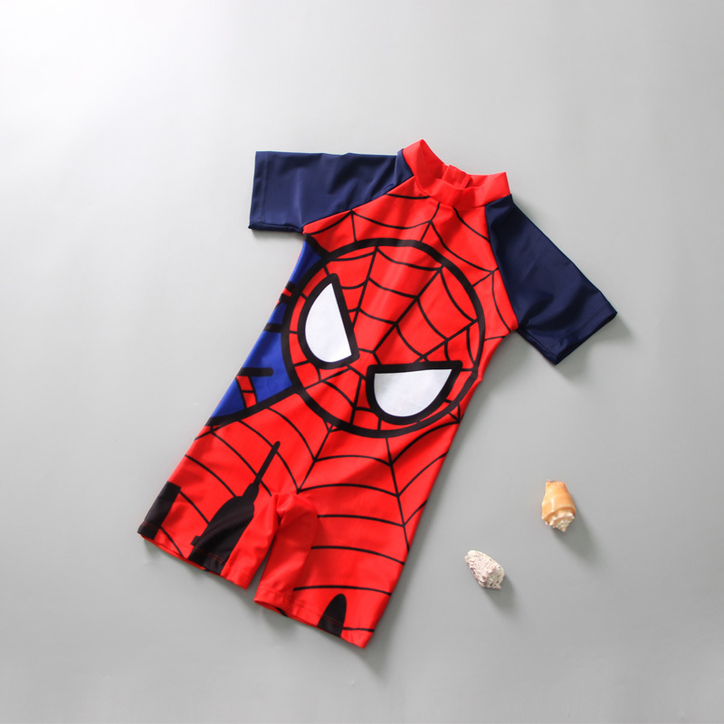 One-piece Swimsuit For Children BOY'S Sun-resistant Quick-Dry Boy One-piece Spider-Man Cute Cartoon Wen Quan Bao Tour Bathing Su