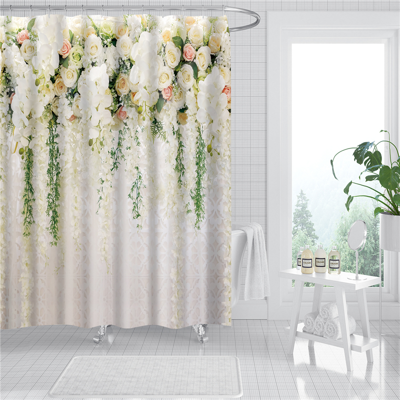 Flowers Printing Shower Curtains Bathroom Curtain Sets With 12