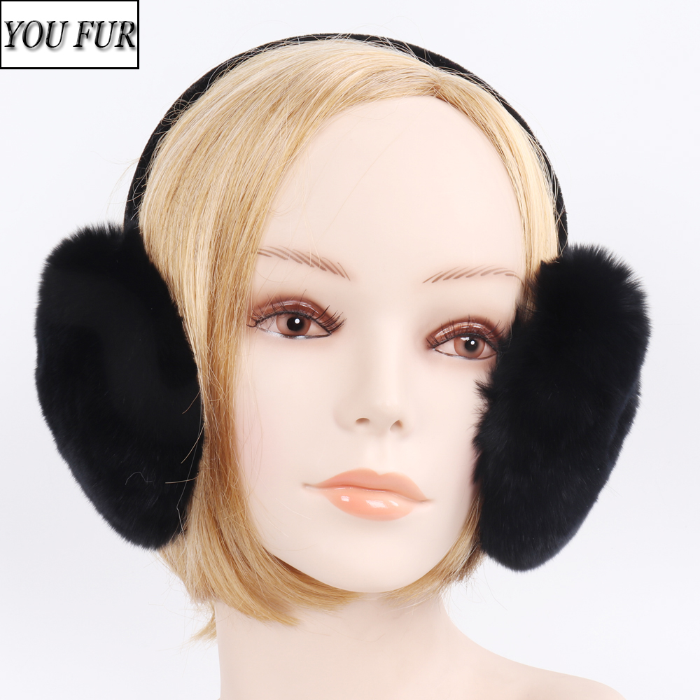 New Winter 100% Real Natural Rex Rabbit Fur Earmuff Lady Warm Rex Rabbit Fur EarMuffs Russian Women Solid Plush Real Fur Earflap