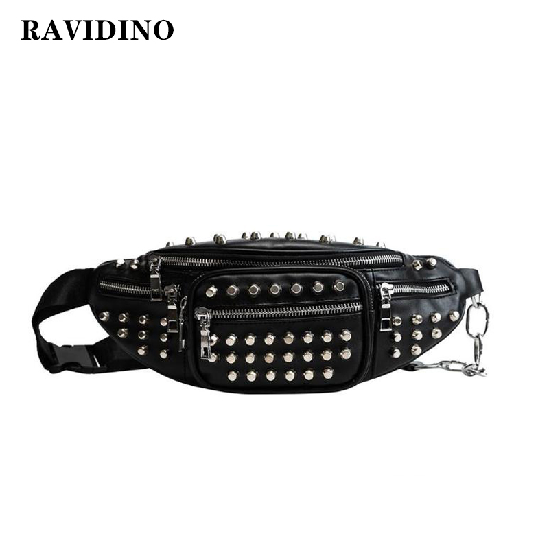 2019 Punk Style  Rivets Waist Pack Luxury Designer Fanny Pack Small Women Waist Bag Phone Pouch Punk Belt Bag Purse