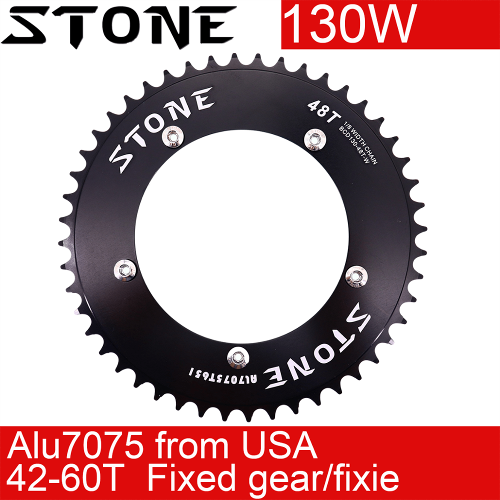 Stone 130 BCD chainring  fixed gear track bike fixie  Round  42T 46T 48T 50T 52t 54 58t 60t tooth  Chainwheel 130bcd Bicycle Crank & Chainwheel     - title=