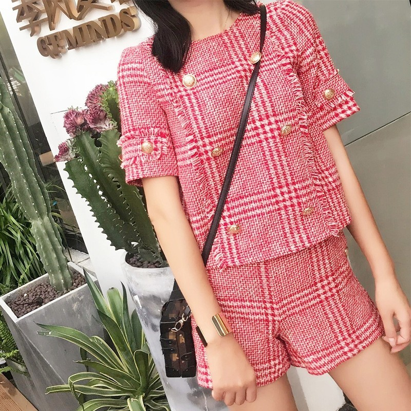 Fashion Women Short Sleeve Buttons Twill Top Shorts Two Piece Set Slim Fit Ladies Outfits Suits Tassels Plaid Conjunto Femenino
