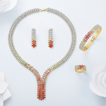 Viennois New Mix Red Gold Color Zircon Necklace Set For women Geomertic Necklace Earrings Set Party Jewelry Set 2018
