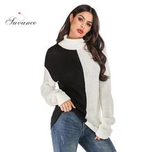 Suvance 2019 Autumn Winter Office Lady Knitted Turtleneck Sweater Patchwork 2 Color Loose Size S-xl Women Pullover Jl-yh155 цена