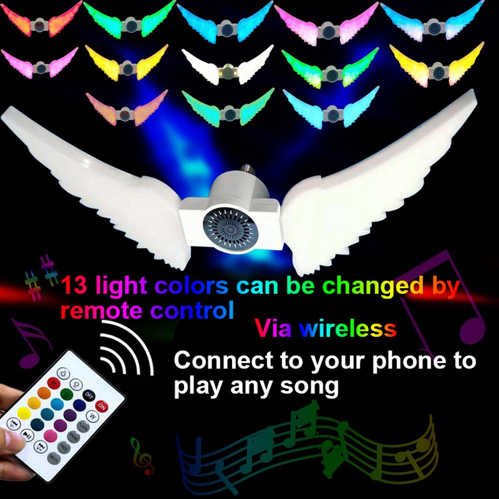 Angel Wings Bulb 50W RGB Smart Wireless Remote Control Bulb 13 Color LED Bluetooth Speaker Music Home Decor Party Club Light