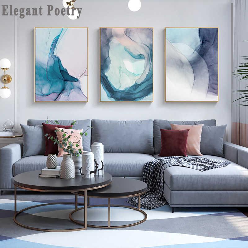 블루 잉크 블룸 현대 추상 캔버스 페인팅 북유럽 포스터와 지문 거실 아트 홈 장식