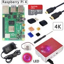 UK Raspberry Pi 4 Модель B комплект + ABS чехол + светодиодный светильник вентилятор + питание + Micro HDMI + радиатор дополнительно 64 32 Гб SD карта