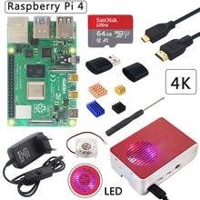UK Raspberry Pi 4 Modell B Kit + ABS Fall + LED Licht Fan + Power + Micro HDMI + kühlkörper Optional 64 32 GB SD Karte