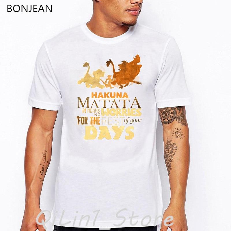 watercolor the king lion print t-shirt men graphic tees shirt homme Hakuna Matata tshirt camisetas hombre funny t shirts tops