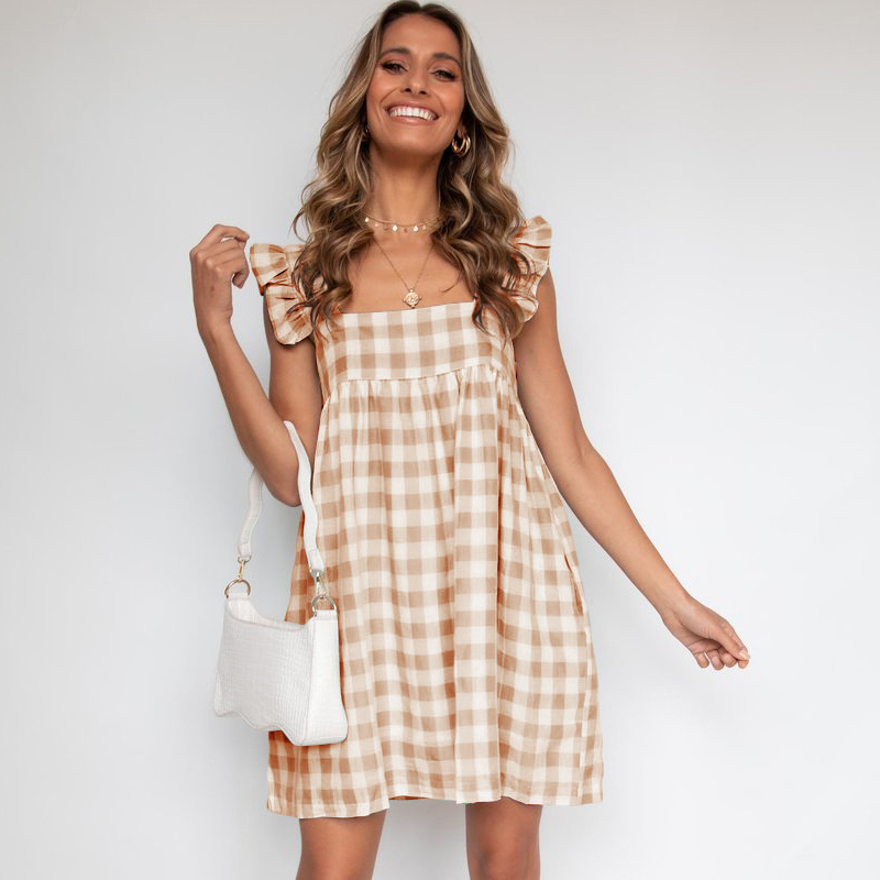 2021 Summer Women's Loose Casual Dress Plaid Square Collar Dress