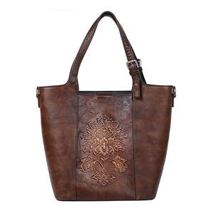 Image 4 - Johnature Retro Luxury Handbags Women Bucket Bag 2020 New Vintage Large Capacity Floral Cowhide Handmade Embossing Shoulder Bags