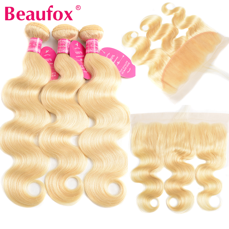Beaufox Blonde 613 Bundles With Frontal 13*4 Ear To Ear Lace Frontal Closure With Bundles Malaysian Body Wave With Frontal Remy