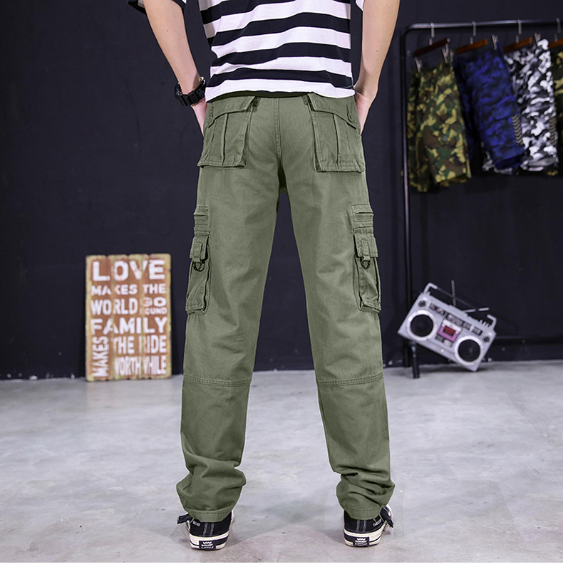 KSTUN Men's Cargo Pants Multi-pockets Baggy Side Zippers Men Cotton Pants Casual Outdoors Overalls Tactical Trousers Loose Male Pants 14