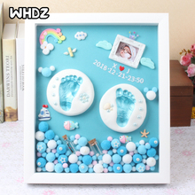 3D DIY Baby Hand Print and Footprint Soft Clay Photo Frame For Newborn Milestone Cards Infant Hand Casting Kit Baby Souvenir Set